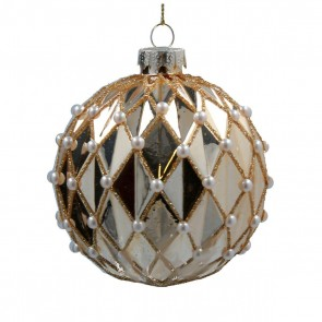 Glass Dec 8cm - Shiny Gold Harlequin Bauble w Pearls