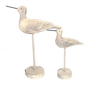 Set of White Carved Bird Ornament