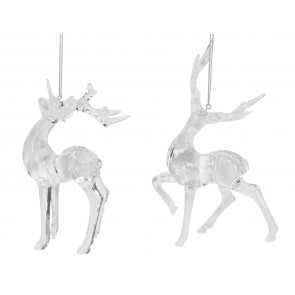 Set of 2 Acrylic Reindeers 17cm - Clear