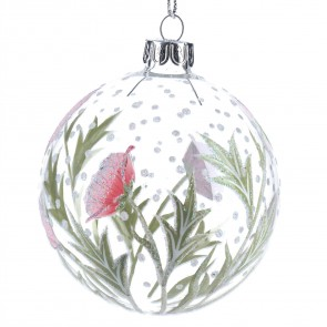 Clear Glass Bauble with Pink Hellebore/Flower Design, 8cm