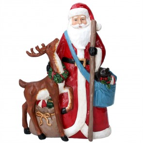 Resin Ornament 29cm - Santa w Reindeer/Sack