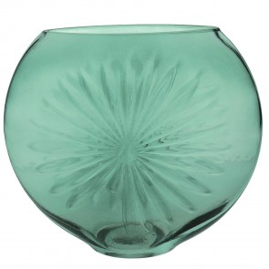 Green Daisy Disk Vase Small
