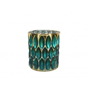 Nite Lite 9cm - Teal/Gold Dimpled Glass