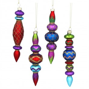 Set of 4 Glass Shapes 16cm - Multicoloured Finial