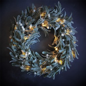 Light Up Frosted Mistletoe Wreath