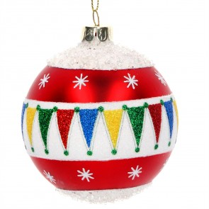 Glass Bauble 8cm - Red/White w Glitter Bunting