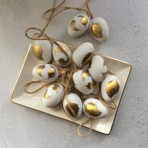 White Mini Easter Egg Decorations with Gold Feather - Bag of 12