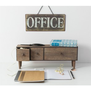 Distressed Metal Hanging Office Sign