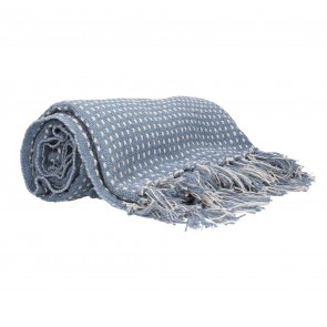 Blue Woven Cotton Throw