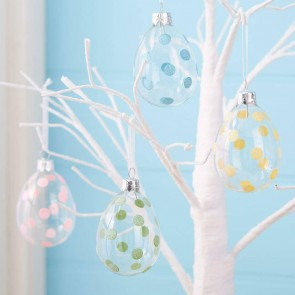 Set of Four Pastel Spotty Glass Egg Decorations