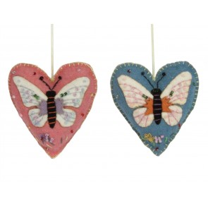 Set of 2 Felt Stictched Heart with Butterfly Dec