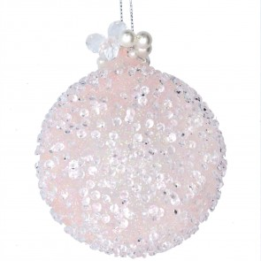 Glass Bauble (8cm) - Pink Beaded w Pearls