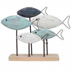 Painted Wooden Fish Shoal with Wire Tail Ornament