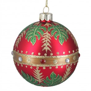 Red & Gold Glass Christmas Bauble with Tropical Leaves Design, 8cm
