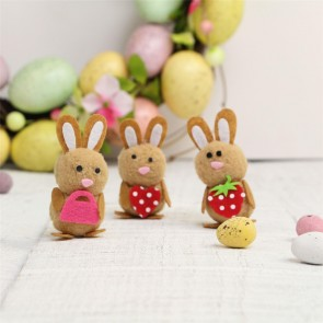 Brown Wool Mini Easter Bunny Decorations - Set of Three