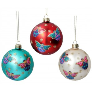 Set of 3 Glass Baubles 8cm - Red/White/Turquoise with Bugs