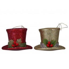 Set of 2 Acrylic Decorations 8cm - Red/Gold Glitter Top Hats