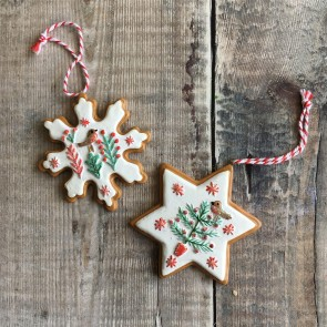 Set of Two Iced Gingerbread Decorations