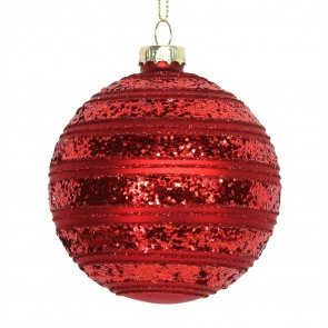 Red Glass Christmas Tree Bauble with Glittered Bands, 8cm