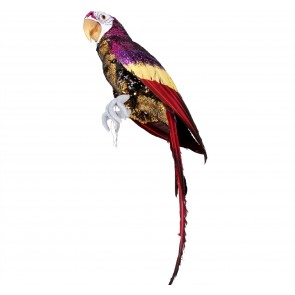 Poly Ornament 67cm - Gold/Multi Sequin w Feather Parrot
