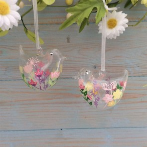 Pastel Flowers Glass Bird Easter Decorations - Set of Two