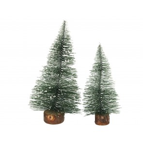 Pack/2 Bristle Trees 12cm - Green/Snowy Tips