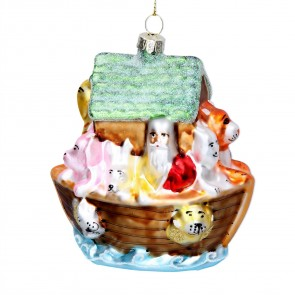 Painted Glass Noah's Ark Christmas Tree Decoration, 10cm