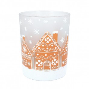 Glass Nite Lite 12cm - Frosted Gingerbread House