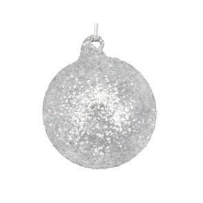 Glass Bauble 8cm - Silver & White/Glitter