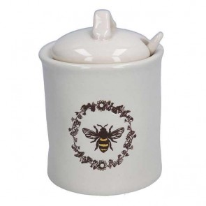 White Ceramic Bee Sugar Pot with Spoon