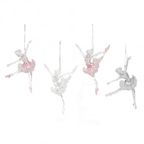 Set of 4 Acrylic Ballerina 16cm - Clear & Pink