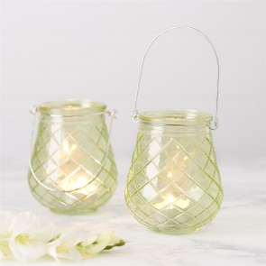 green glass hanging tealight holders
