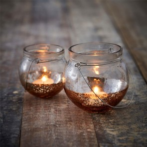 Copper dipped tea light holder