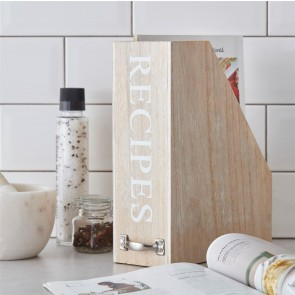 wooden recipe storage rack
